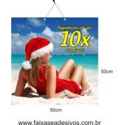 Placa de Natal Mamãe Noel 50 x 50cm