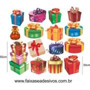 Adesivo Natal Caixa de Presentes Variados 1,20 x 1,00m