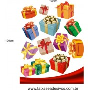 Adesivo Natal Caixas Presente e Barrado 1,20 x 1,00m