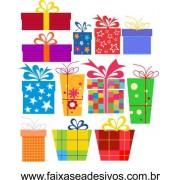 Adesivo Natal Caixa de Presente Cartoon 1,00 x 1,00m
