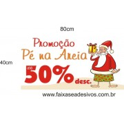 Adesivo Papai Noel Pé na Areia 0,80 x 0,40m