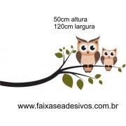 026 - Galho corujinhas marron 50x120cm
