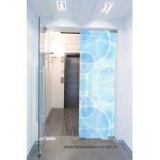 087 VD - Adesivo Jateado impresso para vidro Blue ellos 220x70cm