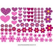 AB201 - Adesivo Cartela de Flores e corações
