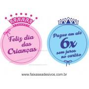 Adesivo Dia das Crianças Principe e Princesa - D306