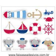 A704 - Dia das Crianças - Adesivo Náutico Infantil cartela bichinhos