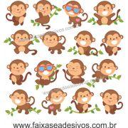 A716 - Dia das Crianças - Adesivo Cartela de Macaquinhos