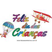 A724 - Dia das Crianças - Texto Avião com paraquedas
