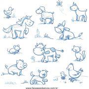 033 - Adesivo Decorativo Cartela Animais riscados fazenda