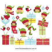 1215 - Cartela de adesivos para o Natal - Duendes