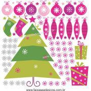 1228 - Cartela de Adesivo de Natal Pink