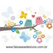 Infantil Adesivo Decorativo galho coruja cores 90x70cm