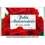 551 - Faixa Aniversário Rosas Vermelhas 1,20 x 0,70m
