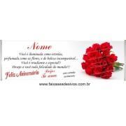 548 - Faixa Aniversário Buquê de Rosas 2,20 x 0,70m