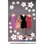 Violetas Brancas adesivo cartela de flores