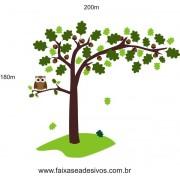 010 - Árvore Adesivo Decorativo - com nozes e corujinha