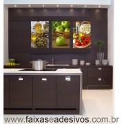Decorativo de Cozinha 3 Placas Trio AZ MÇ TF