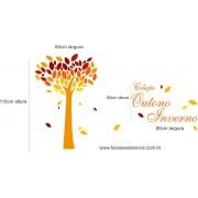Arvore coração de outono adesivo decorativo