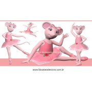 Painel de Aniversário 002 Angelina Bailarina 2x1