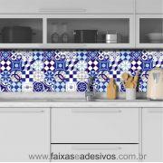 001AZ - Adesivo Azulejo - Ladrilho Azul Vintage