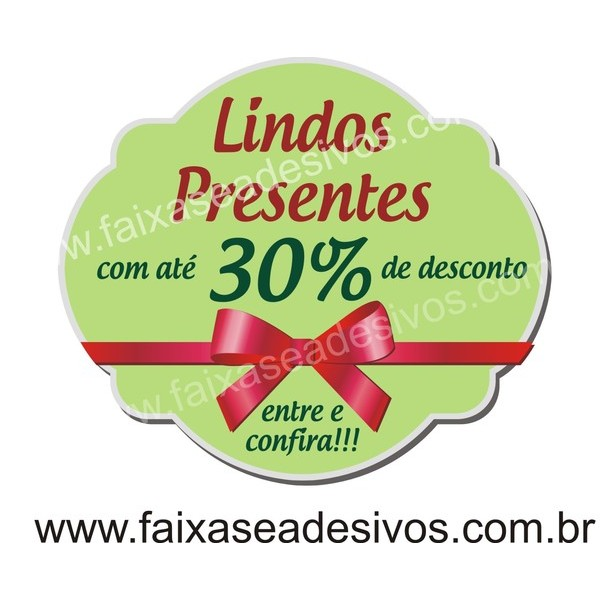 Adesivo de Natal BOX Verde 40 x 35cm  - FAC Signs Impressão Digital