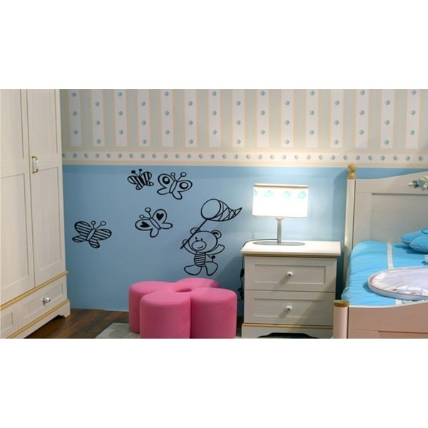 Infantil  Adesivo Baby Blue Borboletas 1,00x0,80m  - FAC Signs Impressão Digital