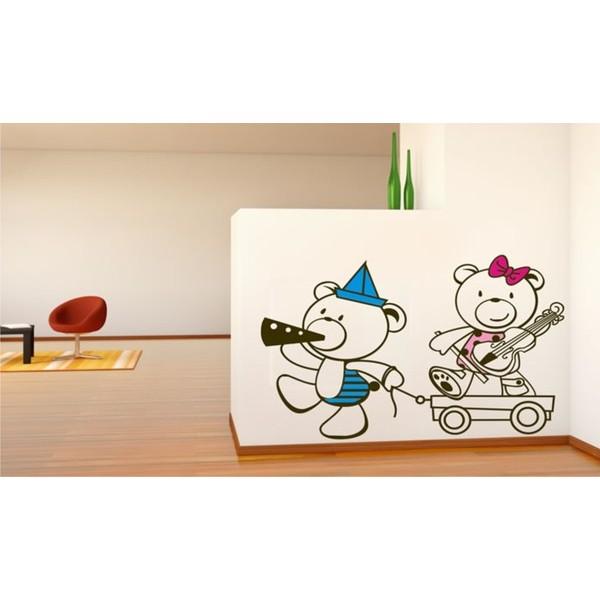 Infantil Adesivo Ursinhos Fanfarra 50x75cm Adesivo Decorativo  - FAC Signs Impressão Digital