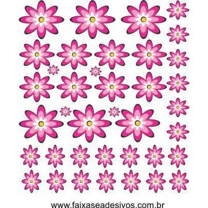 Pikê Flores Pink adesivo cartela 1,20 x 1,40cm  - Fac Signs