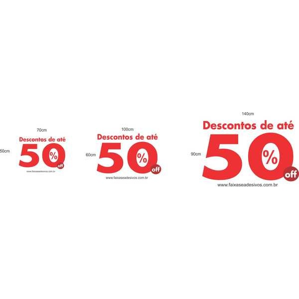 Adesivo Troca Estoque 50% off RED - vários tamanhos  - Fac Signs