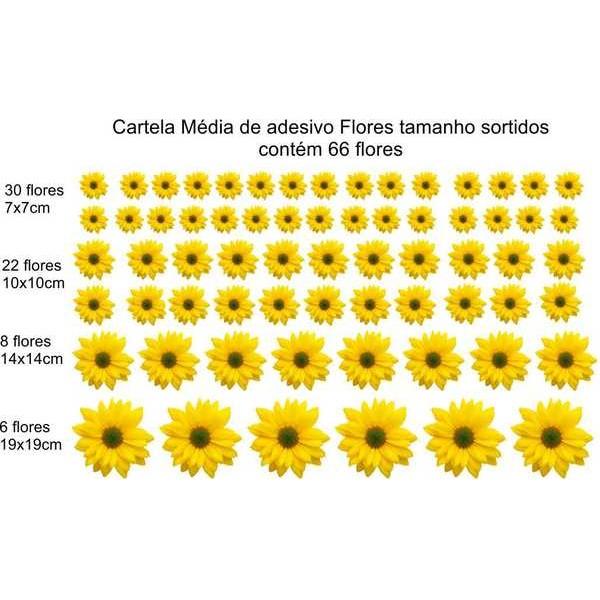 Cartela de Flores New M - adesivo com  66 flores - Escolha a sua  - FAC Signs Impressão Digital
