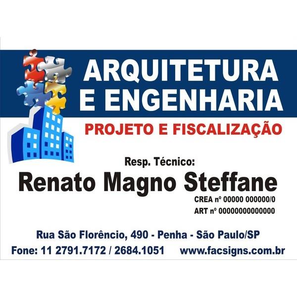 3017 - Placa PVC  - Arquitetura ou outros temas - 80x60cm - Envie arte pronta ou fazemos a arte!  - FAC Signs Impressão Digital