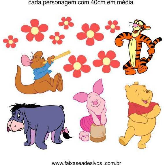 Infantil Cartela de adesivos de parede Pooh  - Fac Signs