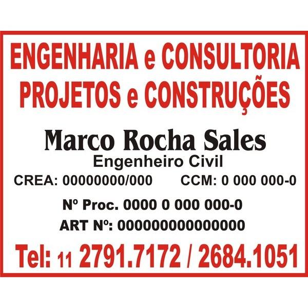 Placa PVC - Ideal para Obra ou outros temas - 50x40cm  - FAC Signs Impressão Digital