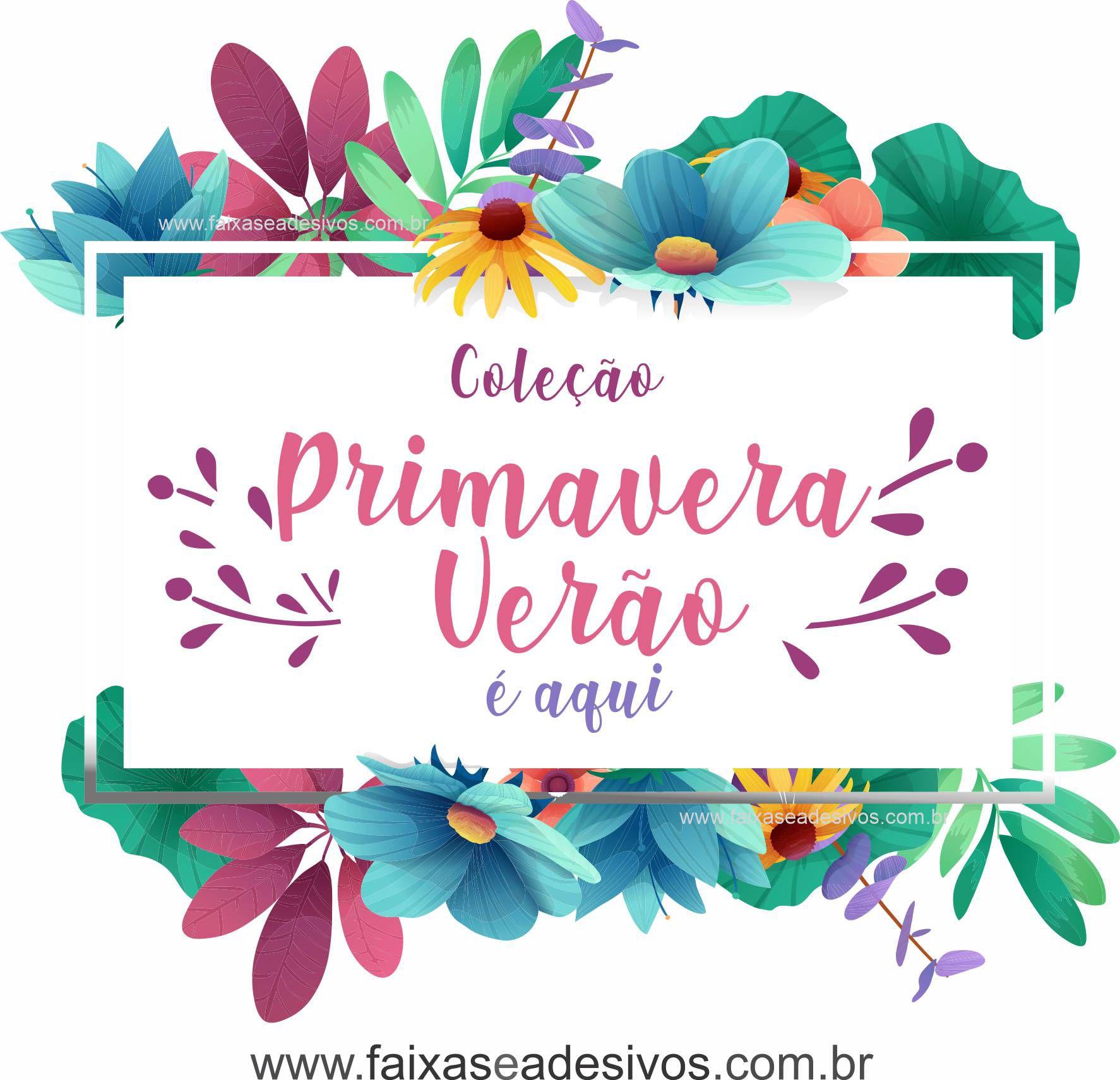 1A4918 - Adesivo Primavera-Verão - Floral Celeste  - Fac Signs