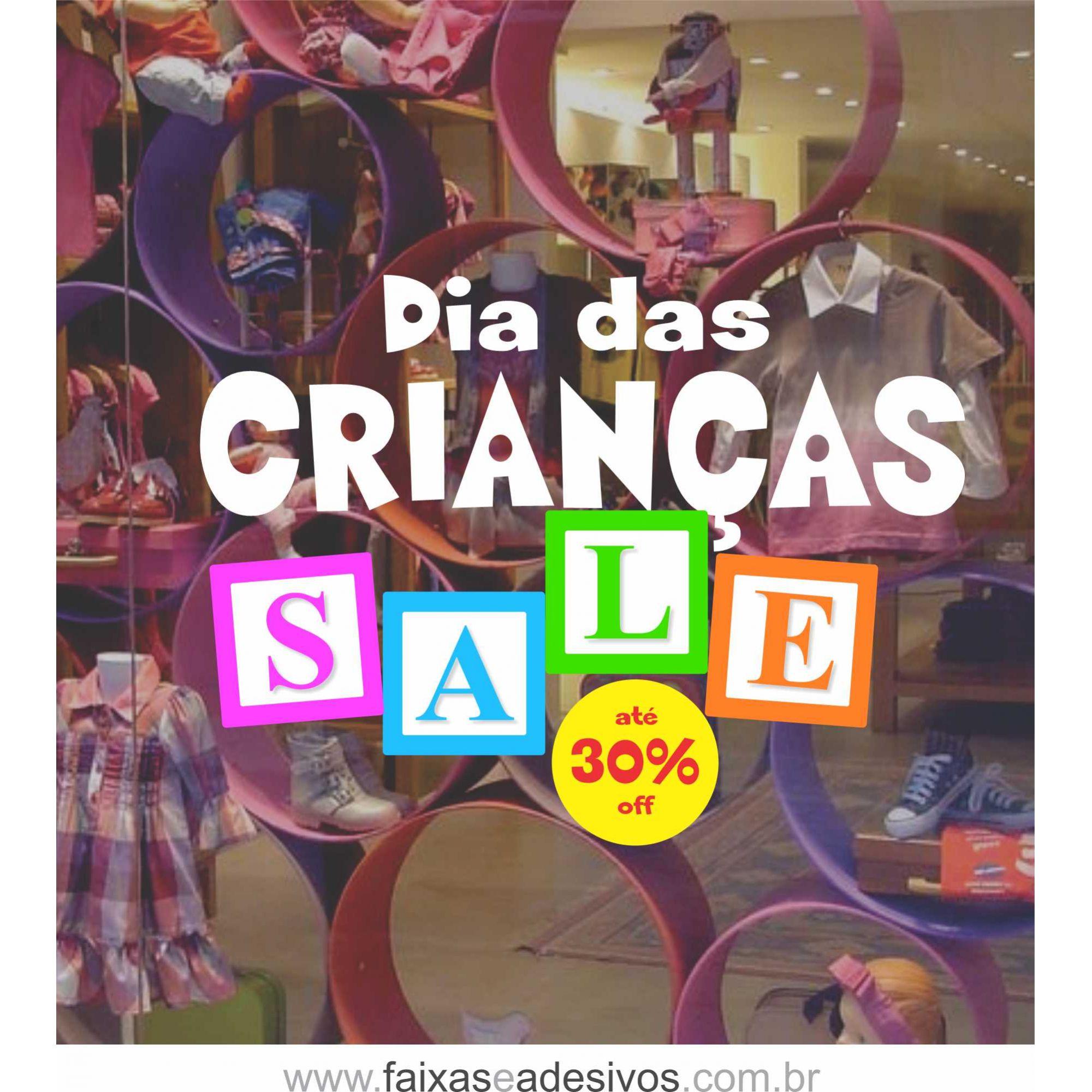 1A6990 - Dia das Crianças - Adesivo Cubo Sale  - FAC Signs Impressão Digital