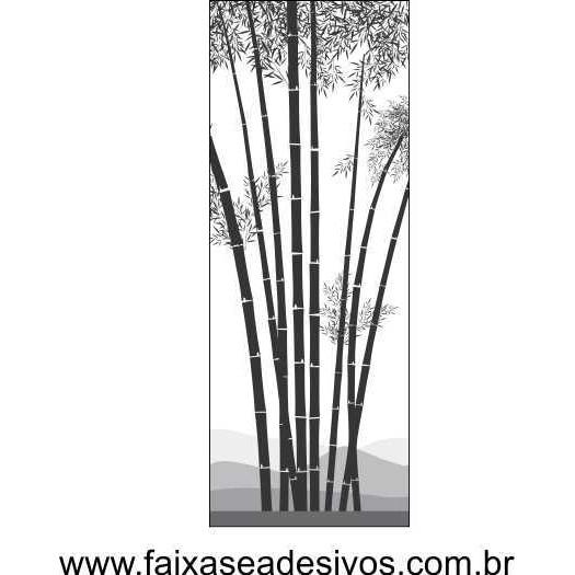 095 VD - Adesivo Jateado para vidro Bambuzinho 210x70  - FAC Signs Impressão Digital