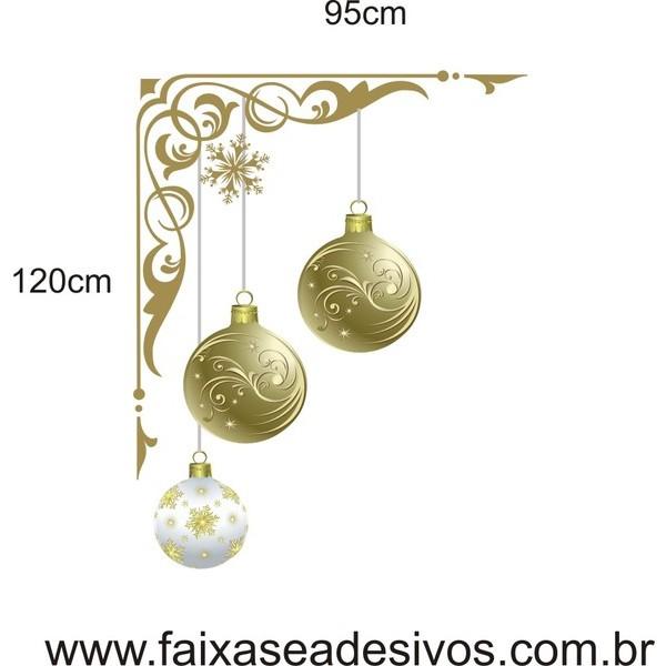 Adesivo Cantoneira Bolas Natalinas  - FAC Signs Impressão Digital