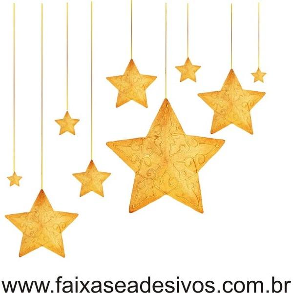 Adesivo Natal Estrelas Frame - P M G  - Fac Signs