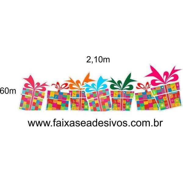Adesivo Natal Barrado de Presentes Alegres - 2,10x0,60m  - Fac Signs