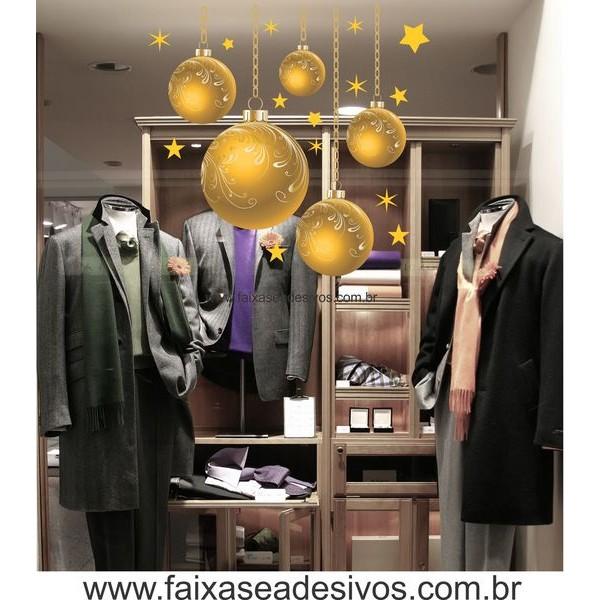 Adesivos Bolas de Natal Amarelo - P M G  - Fac Signs