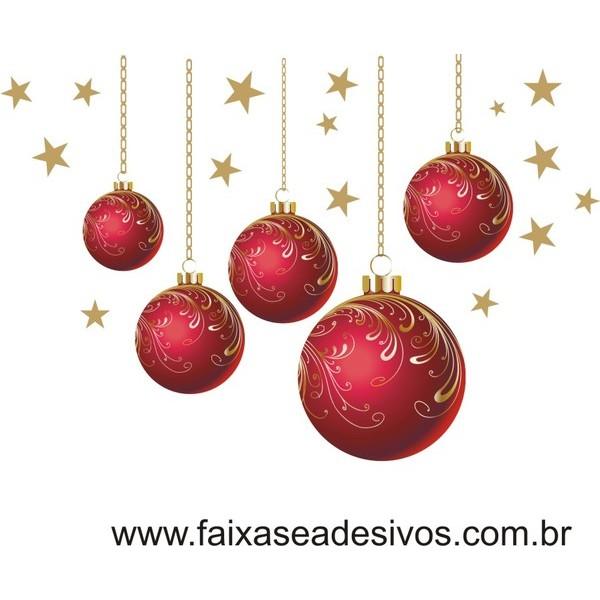 Adesivos Bolas de Natal Vermelha - P M G  - Fac Signs