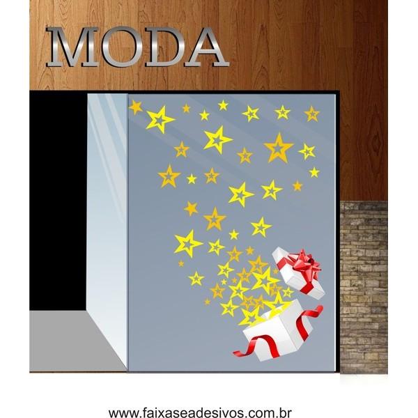 Adesivo de natal Presente de Estrelas  - Fac Signs