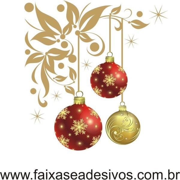 Adesivo Bolas de Natal Floral - P M G  - Fac Signs