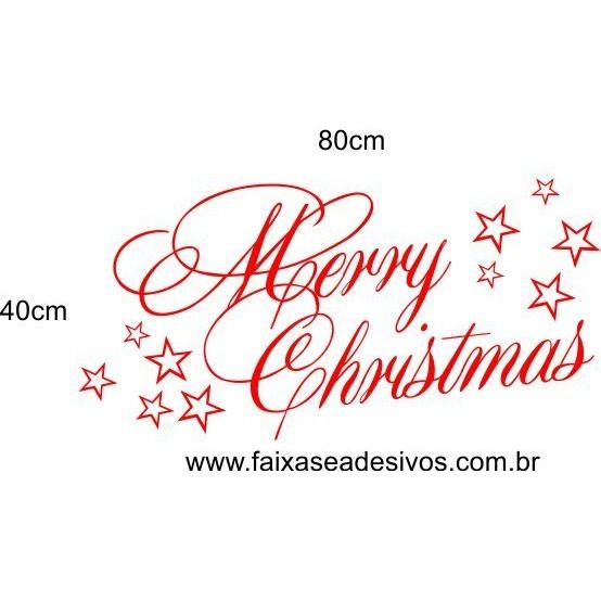 Adesivo de Natal Merry Christmas 80 x 40cm  - Fac Signs