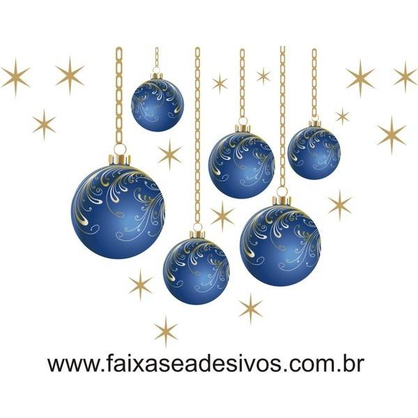 Adesivo Bola de Natal Azul com corrente (P-M-G)  - Fac Signs