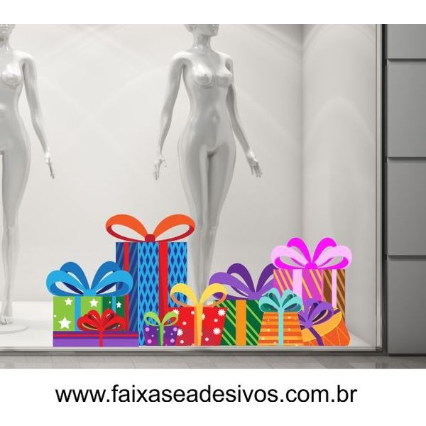 Adesivo Barrado de Presentes Viva o Natal 1,20 x 0,55m  - Fac Signs