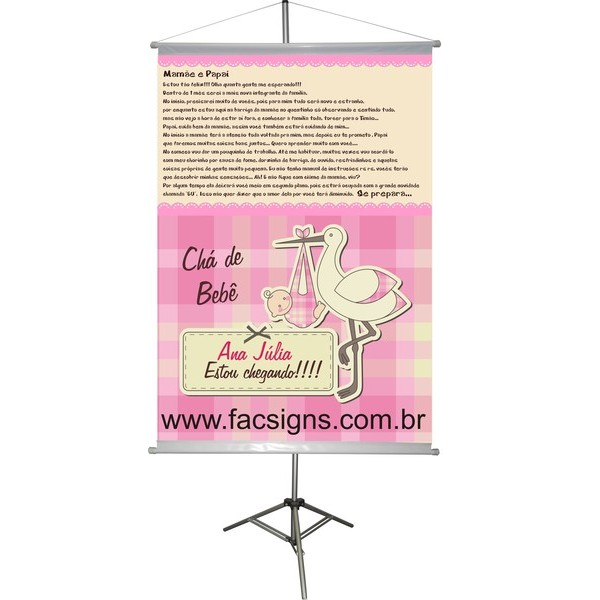 Banner Chá de Bebê 1,00x0,70m  - FAC Signs Impressão Digital