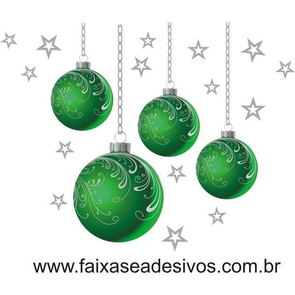 Adesivo Bolas de Natal Verde (P-M-G)  - Fac Signs
