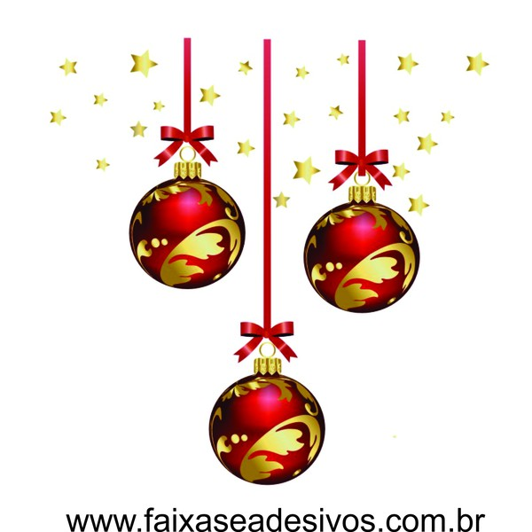 Adesivo Bolas de Natal Estreladas Vermelho (P-M-G)  - Fac Signs