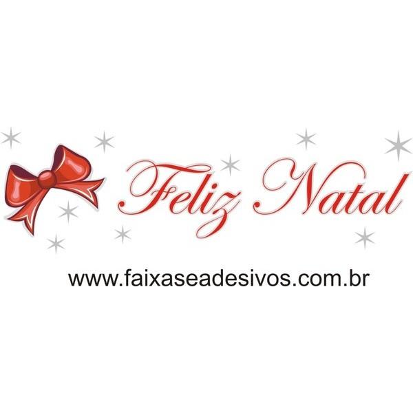 Adesivo Feliz Natal Laço e Estrelas (P-M-G)  - FAC Signs Impressão Digital